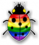 Ladybird Bug Design With LGBT Gay Pride Flag Motif External Vinyl Car Sticker 90x105mm